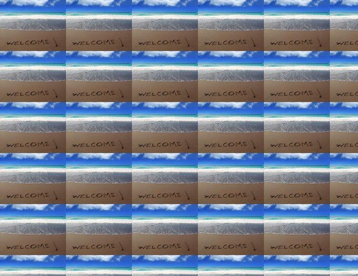 Vinylová Tapeta Brown písečná pláž s psaným slovem Vítejte - Prázdniny
