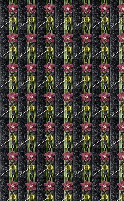Vinylová Tapeta Červené orchidejí a bambus háj, masážní olej, na mokrém černém pozadí - Životní styl, péče o tělo a krása