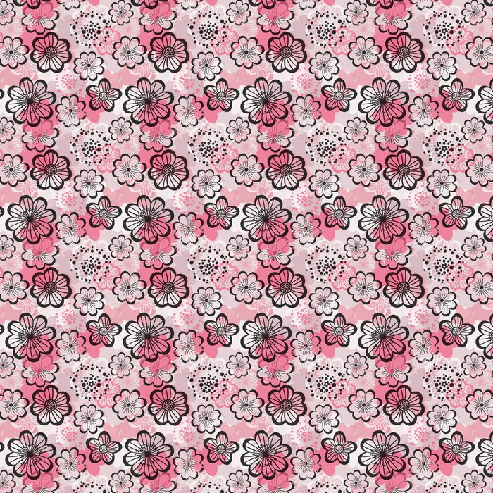 Vinylová Tapeta Bezešvé květinové pozadí. Grafické růžové květy. - Struktury