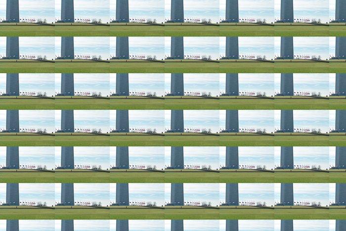 Vinylová Tapeta Základna Washington Monument obklopen americké vlajky - Americká města