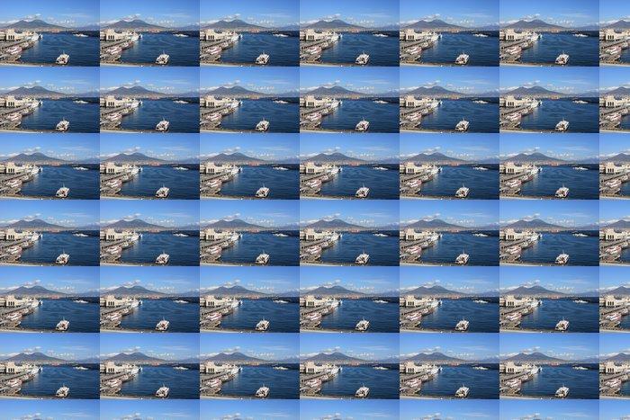 Vinylová Tapeta Přístav Santa Lucia a sopky Vesuv v Neapoli - Evropa