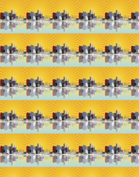 Vinylová Tapeta Singapore City Skyline se slunečními paprsky ilustrace - Asijská města