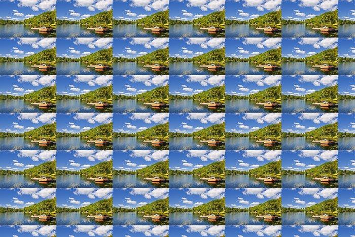 Vinylová Tapeta Chatky na jezeře s doky - Voda