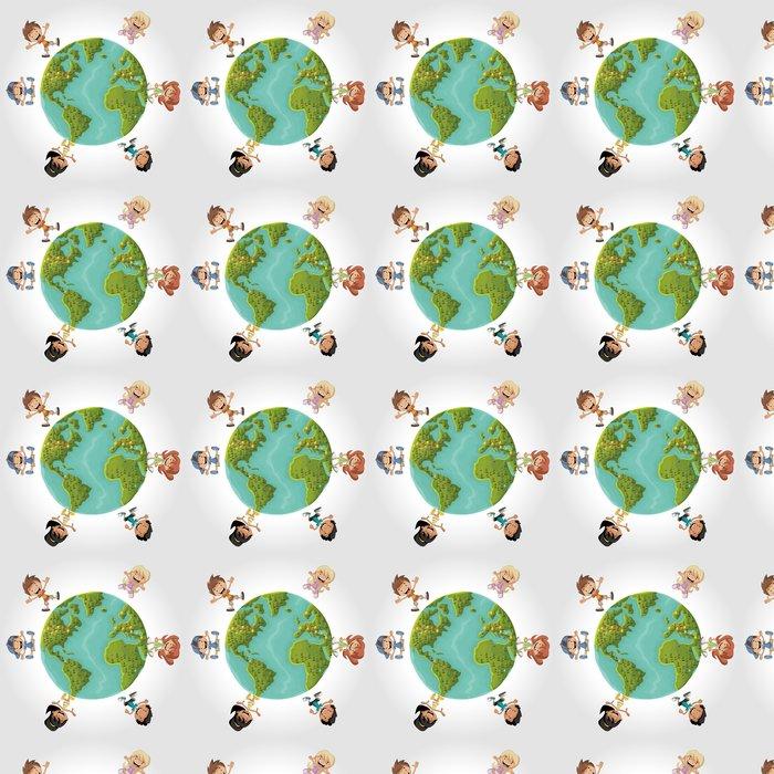 Vinylová Tapeta Roztomilý šťastné kreslený děti přes planety Země - Děti
