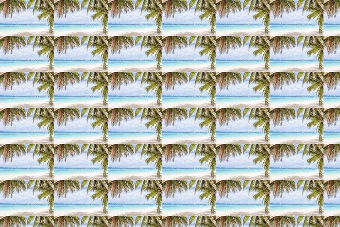 Vinylová Tapeta Palmy na tropické pláži a moře na pozadí, letní prázdniny - Prázdniny