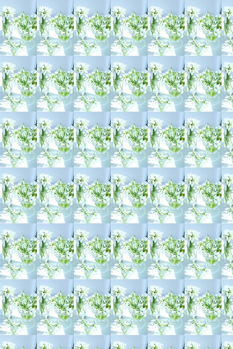 Papel de Parede em Vinil Beautiful bouquets of snowdrops in vases on windowsill - Flores