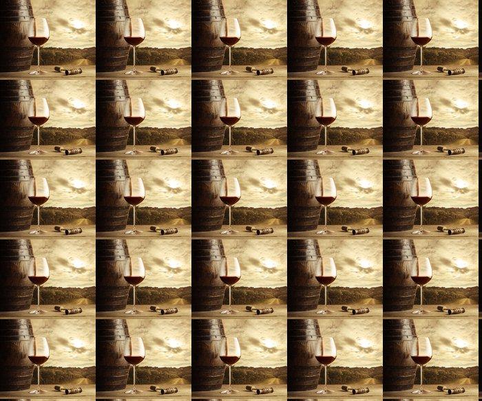 Vinyltapete Rotweinglas, Weinberg auf Hintergrund - Themen