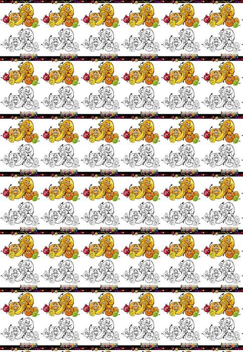 Vinylová Tapeta Karikatura citrusové plody pro omalovánky - Ovoce