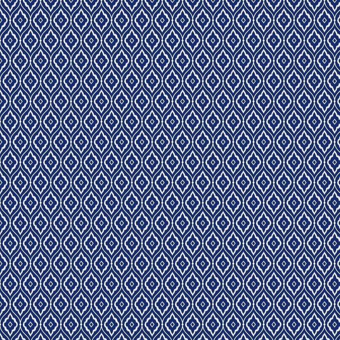 Seamless Indigo Blue And White Vintage Persian Ikat Pattern Vinyl Wallpaper