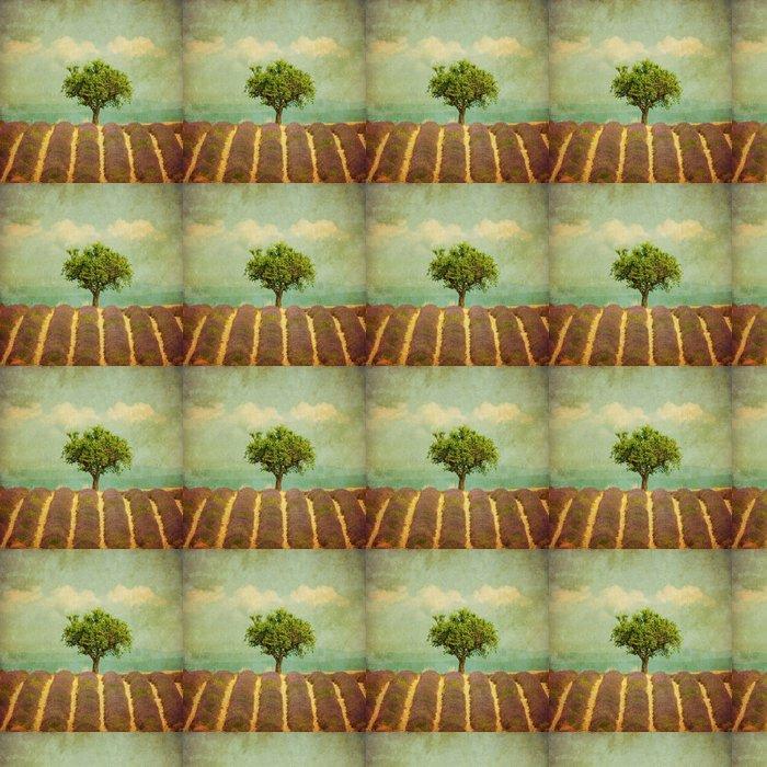 Vinylová Tapeta Vintage obraz stromu v poli levandule - Styly