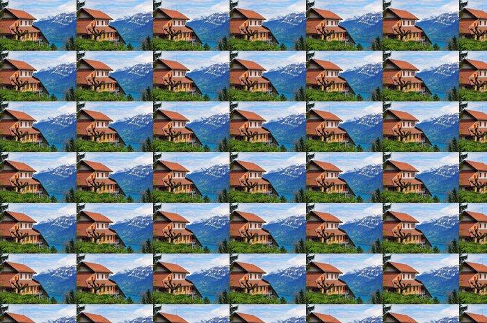 Vinylová Tapeta Švýcarský dům a hory - Evropa