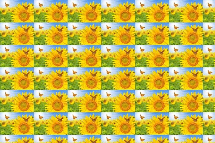 Vinylová Tapeta Slunečnicové pole s motýly - Témata