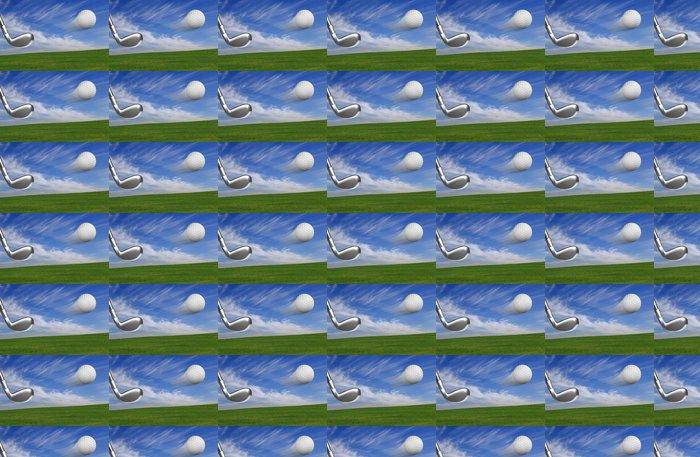 Vinylová Tapeta Golfový míček s klubem v akci s venkovním pozadí - Golf