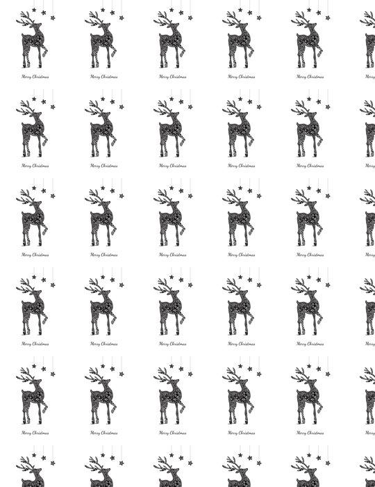 Vinylová Tapeta Vánoční blahopřání s jeleny na bílé - Mezinárodní svátky