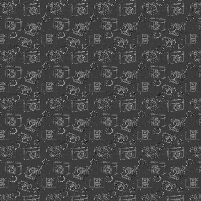 tapete schwarz wei muster mit foto kameras - Tapete Schwarz Weis Muster