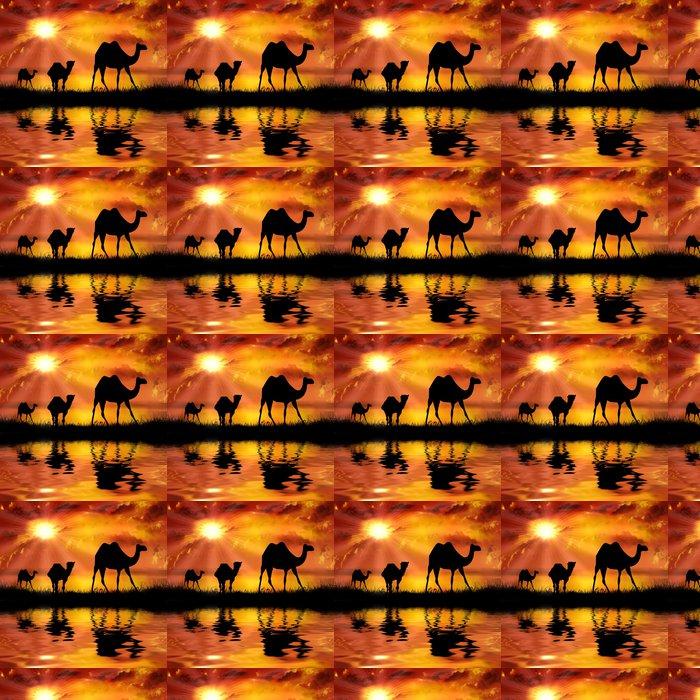 Vinylová Tapeta Velbloudi na krásné pozadí západu slunce - Témata