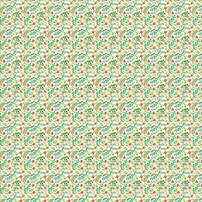 Vinylová Tapeta Akvarel bezešvé vzor se zelenými listy a červenými květy - Pozadí