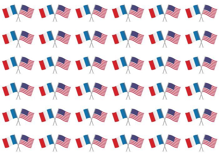 Vinylová Tapeta Americké a francouzské vlajky. Vektorové ilustrace. - Značky a symboly