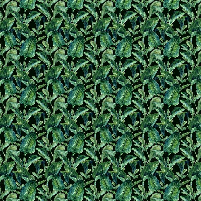 Vesiväri saumaton tausta trooppisia lehtiä Itsestäänkiinnittyvä tapetti - Flowers and plants
