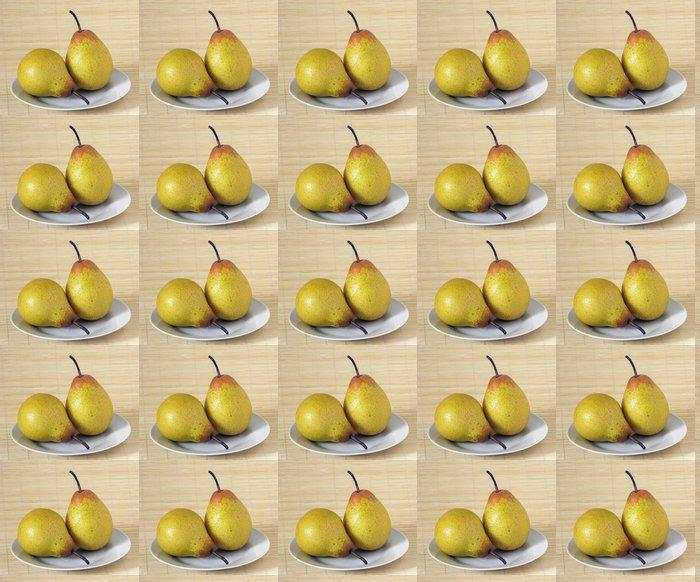 Vinylová Tapeta Foto ze dvou hrušek na bílém talíři - Jídla
