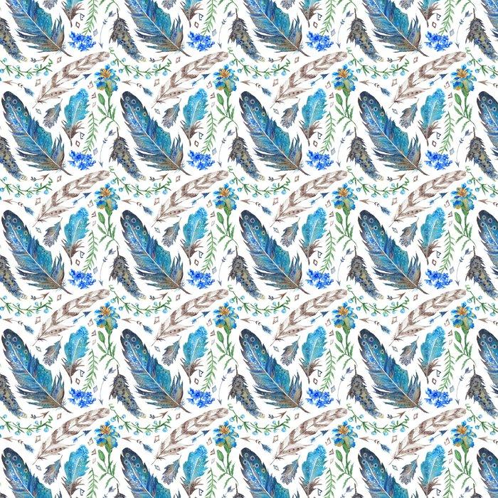Boho-vesiväri kuvio Itsestäänkiinnittyvä tapetti - Kasvit Ja Kukat