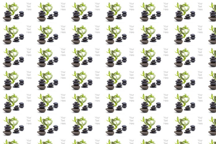 Vinylová Tapeta Hromadu lesklé zen oblázkové kameny s bambusovými rostlin - Náboženství