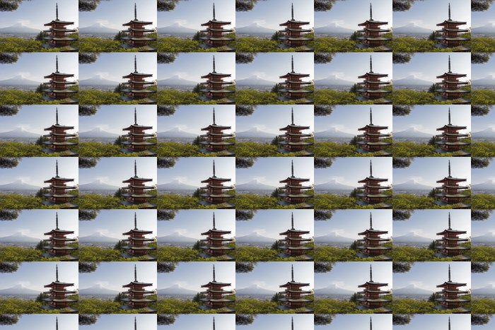 Mt. Fuji viewed from behind Chureito Pagoda Vinyl Wallpaper - Themes