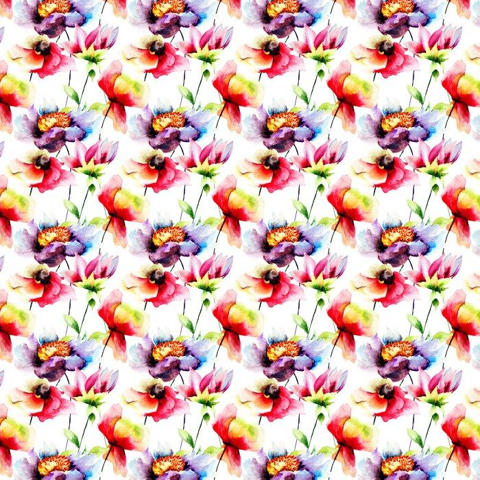 Vinylová Tapeta Letní bezproblémové vzorek s květinami - Květiny