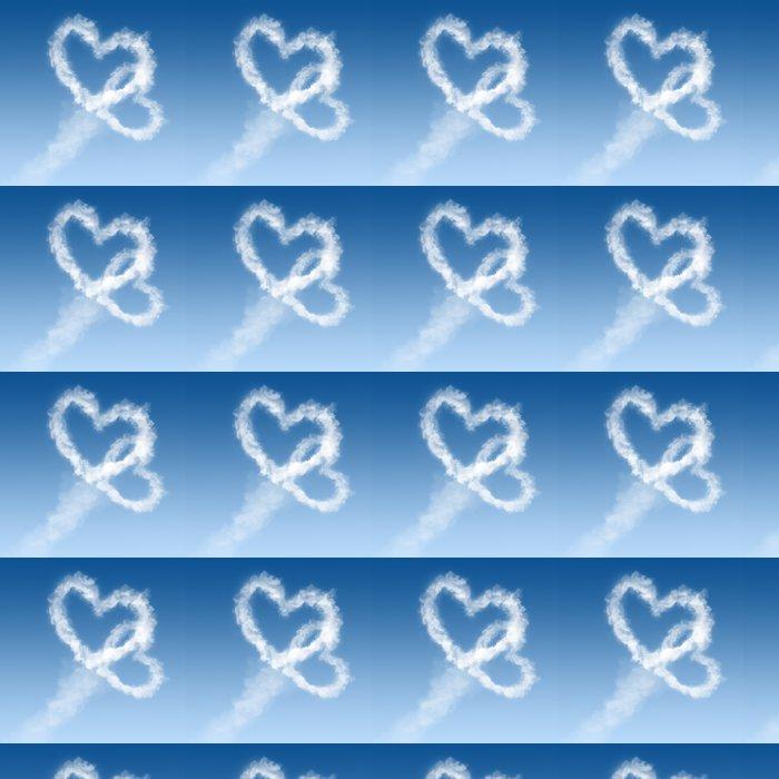 Vinylová Tapeta Dvě srdce tvaru mraky na modré obloze - Značky a symboly