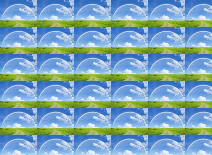 Vinylová Tapeta Duha silniční a pastviny - Nebe