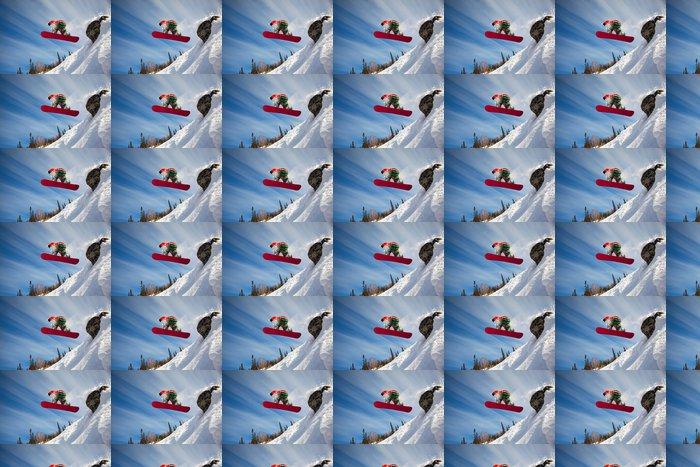 Vinylová Tapeta Snowboardista skákání vzduchem s modrou oblohou v pozadí - Prázdniny