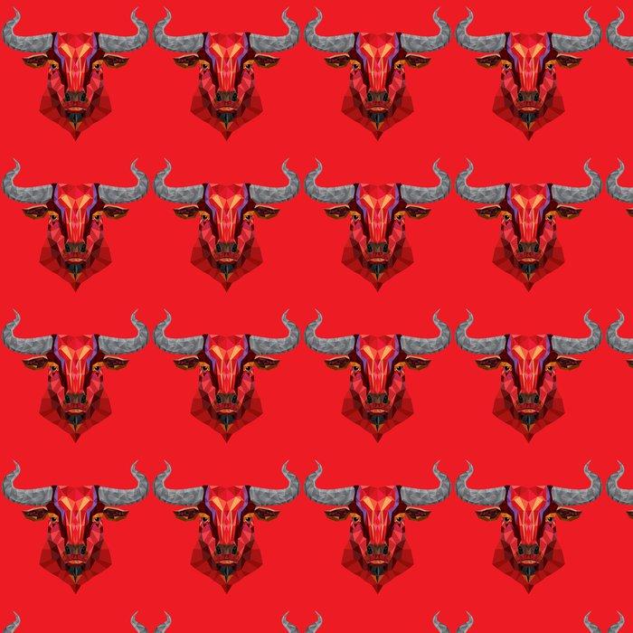 Vinylová Tapeta Red Bull hlava s geometrickým pattern- vektorové ilustrace - Savci