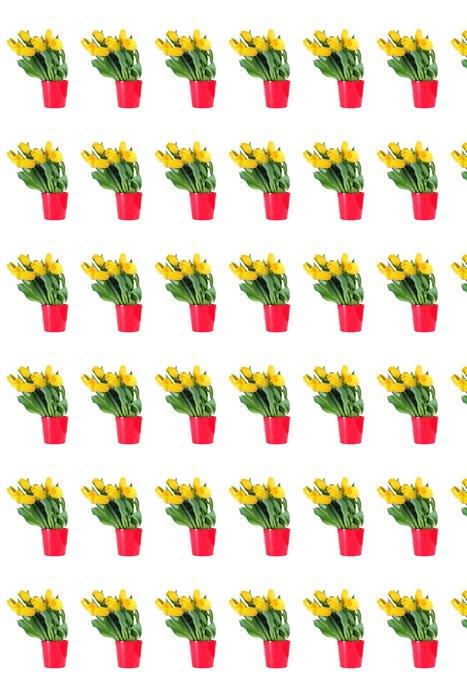 Vinylová Tapeta Kytice od žluté tulipány v červené váza - Květiny