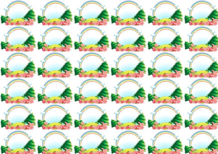 Vinylová Tapeta Barevná duha na kopci - Nálepka na stěny