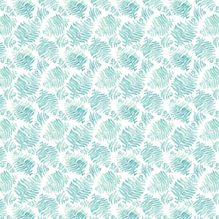 Vinylová Tapeta Vektorové bezproblémové vzorek s akvarely siluety kapradí na bílém pozadí - Rostliny a květiny