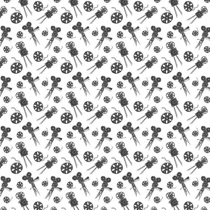 Papel Pintado Cámara y carrete de película vintage de patrones sin ...