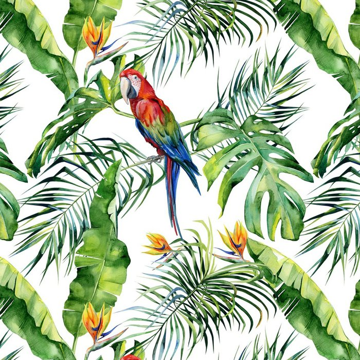 papier peint motifs lavable illustration aquarelle transparente de feuilles tropicales jungle. Black Bedroom Furniture Sets. Home Design Ideas