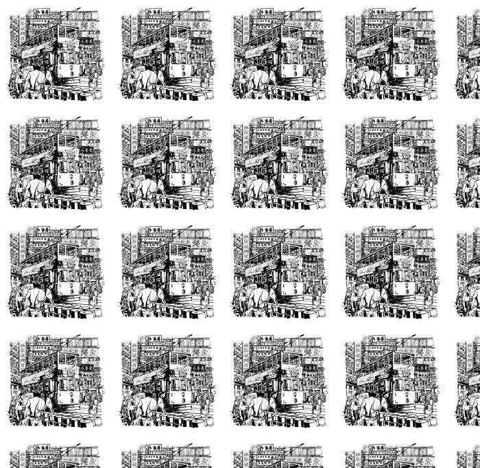Vinylová Tapeta Hong Kong, tramvaje na ulici - Stavby a architektura
