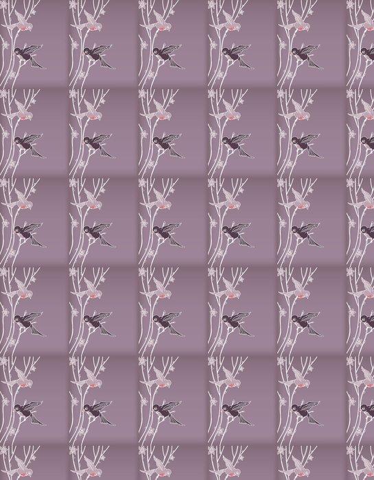 Vinylová Tapeta Vektor ptáci sedí na kvetoucí strom - Roční období