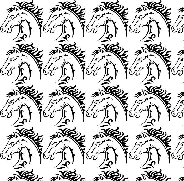 Horse Head Icon Vinyl Wallpaper   Wall Decals