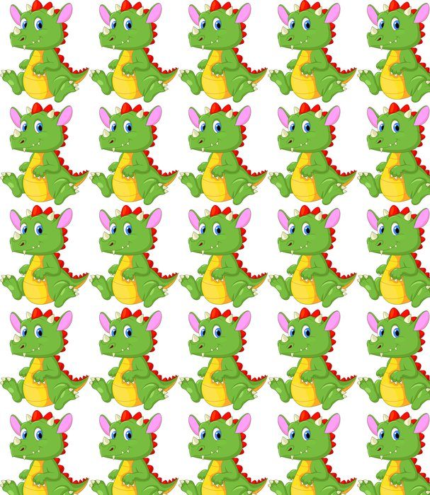 Cute baby dragon cartoon Vinyl Wallpaper - Wall decals