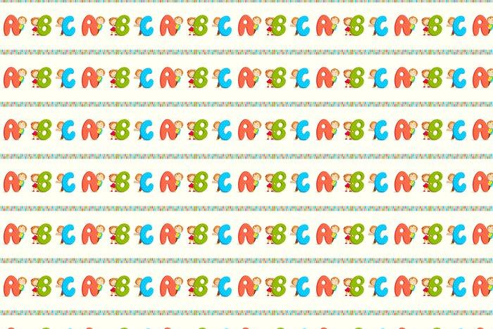 Vinylová Tapeta Vektor, ilustrace, děti, vykukující behing ABC - Témata