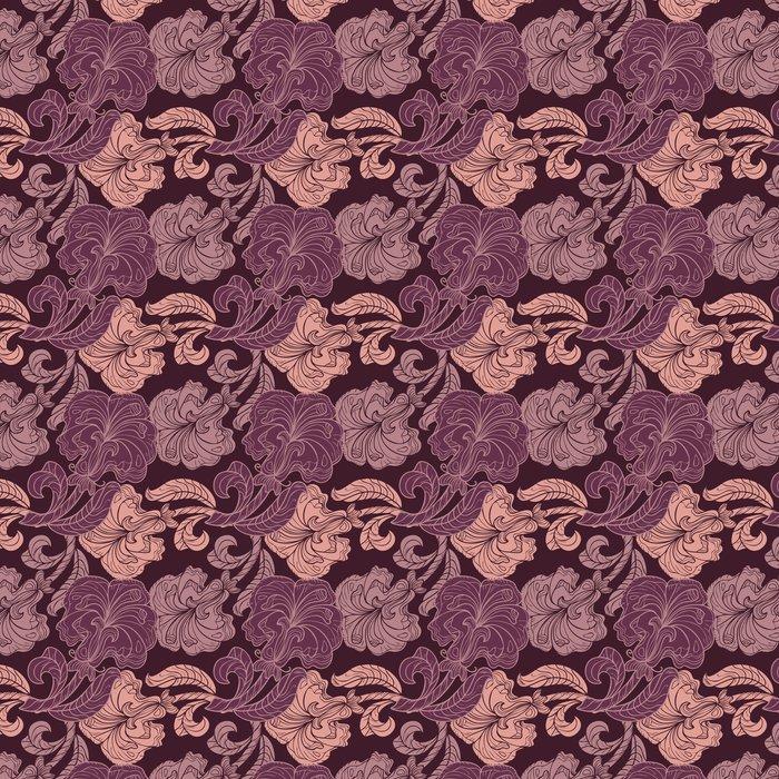Vinylová Tapeta Bezešvé vzor růžové a fialové květy - Pozadí