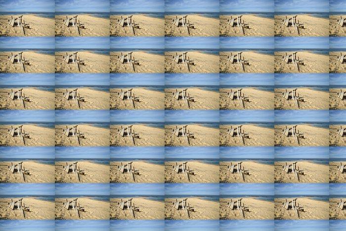 Vinyltapete Eine Holzwrack am Strand - Wasser