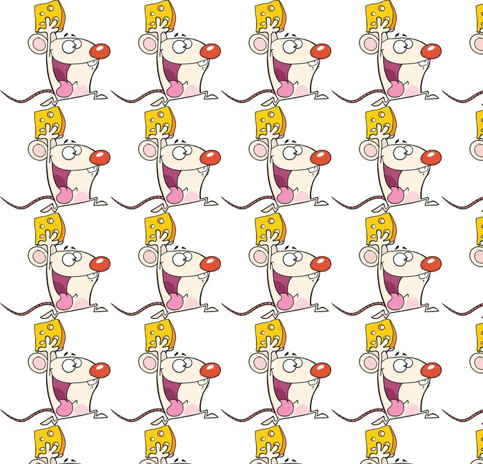 Papel de Parede em Vinil Happy White Mouse Cartoon Mascot Character Running With Cheese - Mamíferos