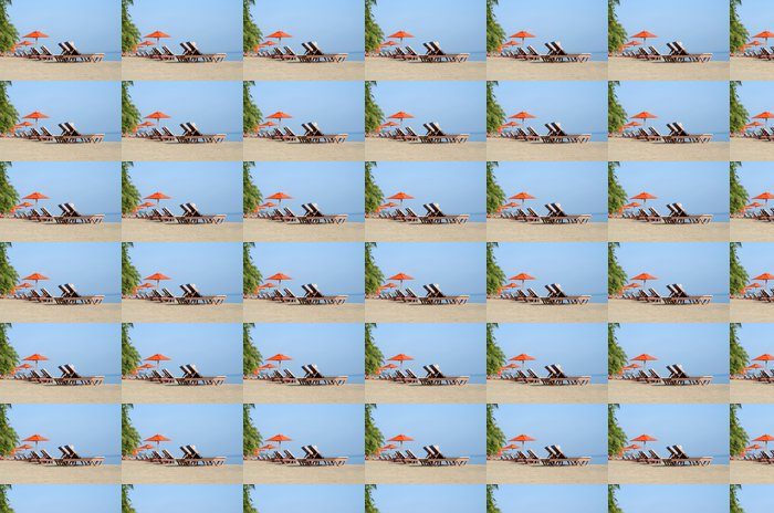 Deckchairs on the shore Vinyl Wallpaper - Islands