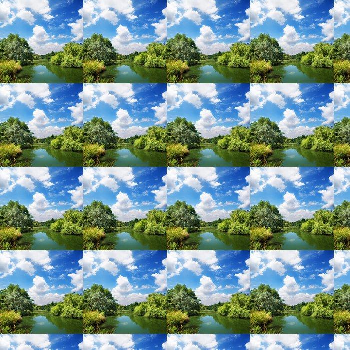 Vinylová Tapeta Letní krajina, řeky a modrá obloha - Evropa