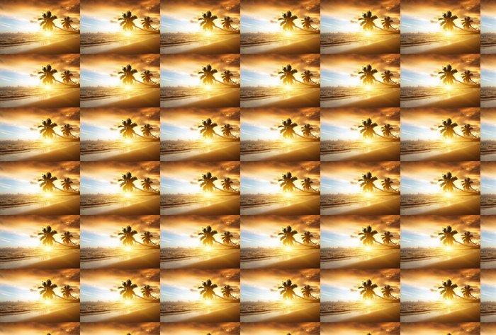 Vinylová Tapeta Západ slunce na pláži Karibského moře - Voda