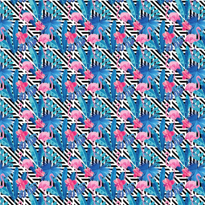 Flamingo ja orkideat kuvio, geometrinen tausta Itsestäänkiinnittyvä tapetti - Eläimet