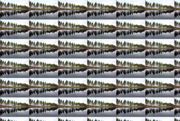 Vinylová Tapeta Skandinávské jezero s jehličnany - Evropa